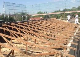 Abriss eines alten Dachstuhles, Bichlerbau Döbeln