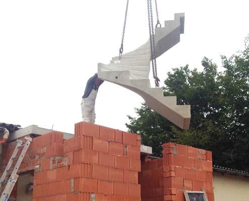 Einbau Treppenlauf aus Beton, Bichlerbau Döbeln