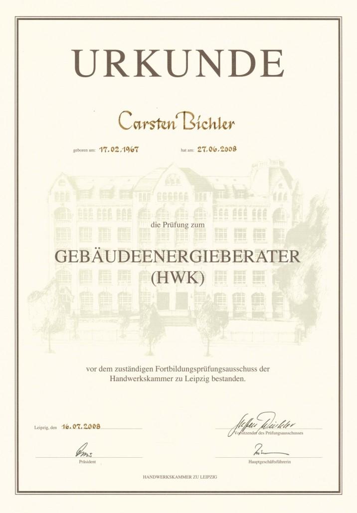 Carsten Bichler, Urkunde Gebäudeenergieberater, Döbeln